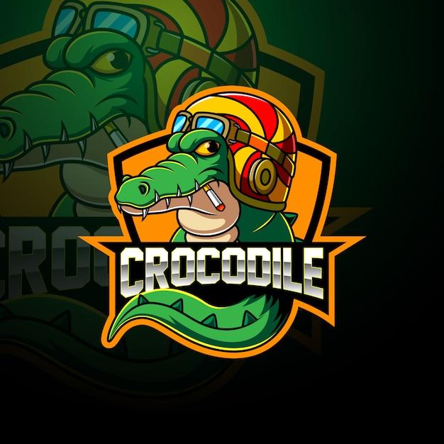 Krokodil esport mascotte logo Premium Vector