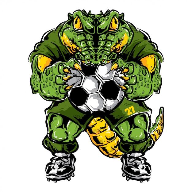 Krokodil voetbal mascotte Premium Vector