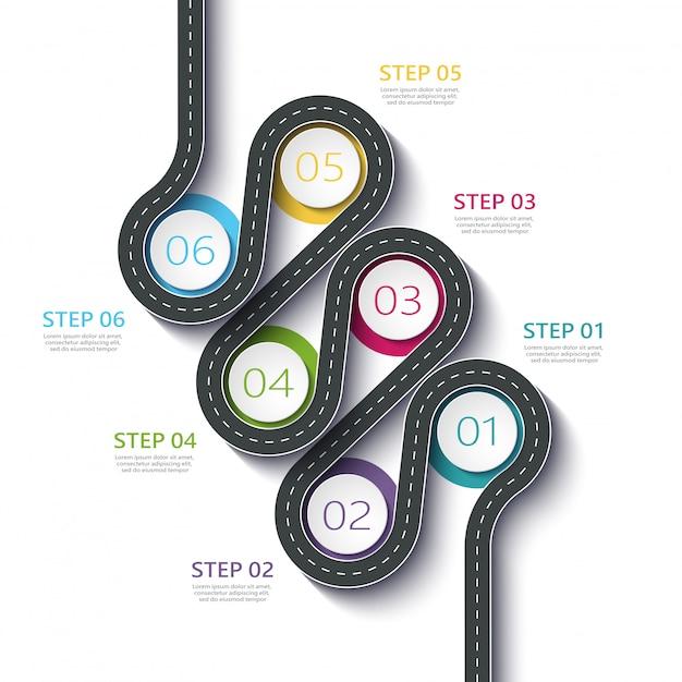 Kronkelende weg manier locatie infographic sjabloon met een gefaseerde structuur Premium Vector