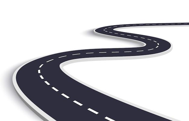 Kronkelende weg op een witte geïsoleerde achtergrond Premium Vector