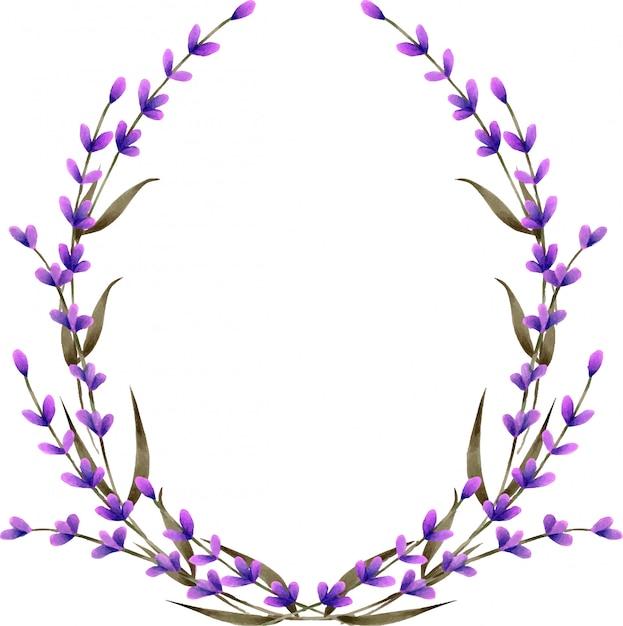 Kroon, frame grens met aquarel lavendel bloemen Premium Vector