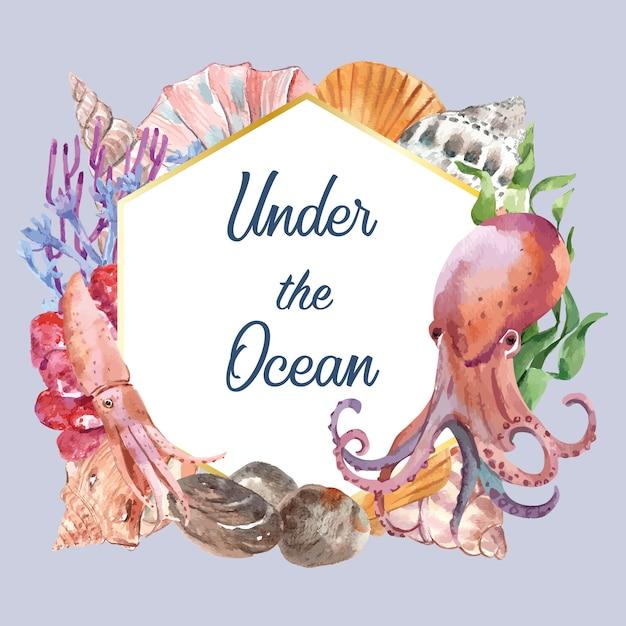 Kroon met sealife-thema, creatief de illustratiemalplaatje van het waterverfelement Gratis Vector