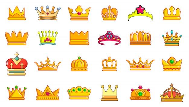 Kroon pictogramserie. beeldverhaalreeks kroon vectorpictogrammen geplaatst geïsoleerd Premium Vector