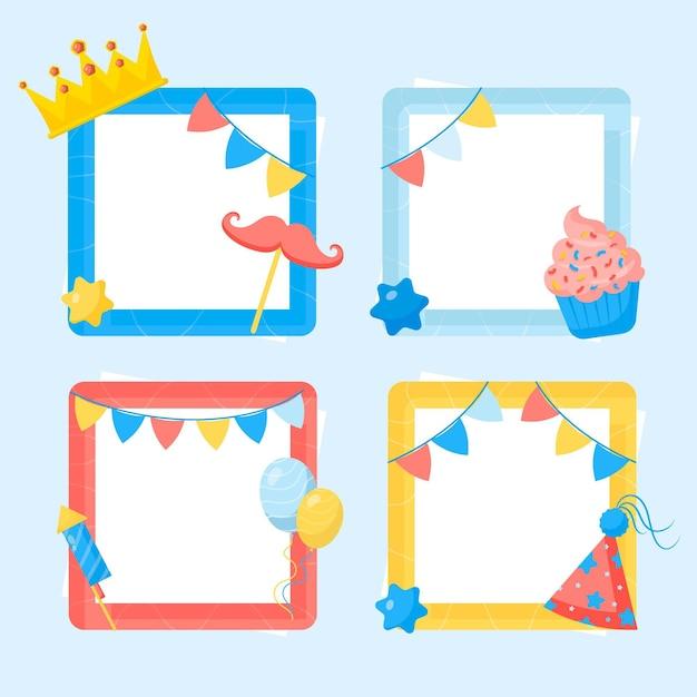 Kroon plat ontwerp verjaardag collage frame Gratis Vector