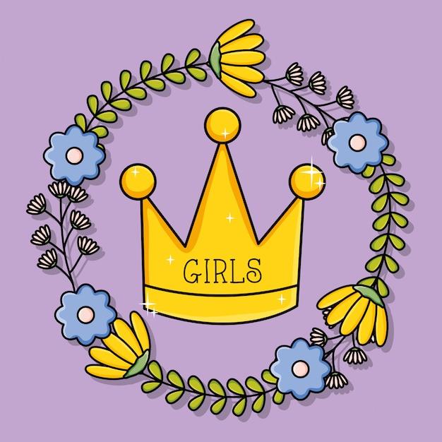 Kroonkoningin met bloemen krans pop-art stijl Premium Vector