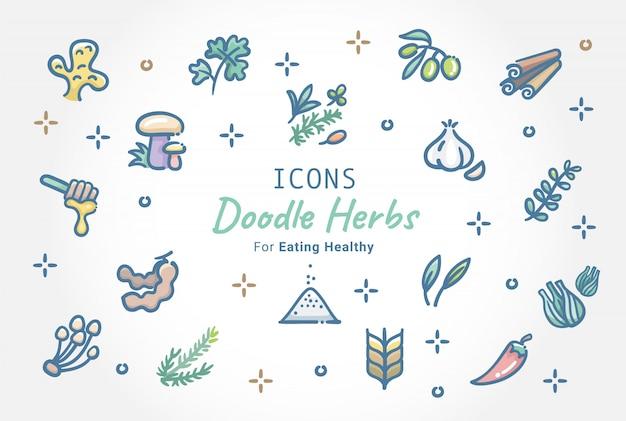 Kruiden doodle icon set Premium Vector