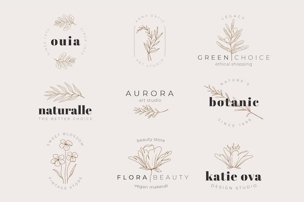 Kruiden plant logo sjabloon collectie Gratis Vector