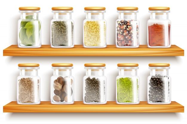 Kruiden specerijen set samenstelling Gratis Vector