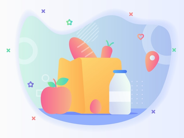 Kruidenier heeft dagelijks concept brood wortel in een papieren zak in de buurt van appel fruit ei fles melk met vlakke stijl vector design Premium Vector