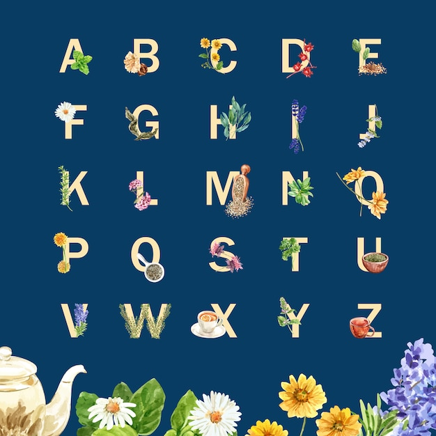 Kruidenthee alfabet met salie, lavendel, goudsbloem, roselle aquarel illustratie. Gratis Vector