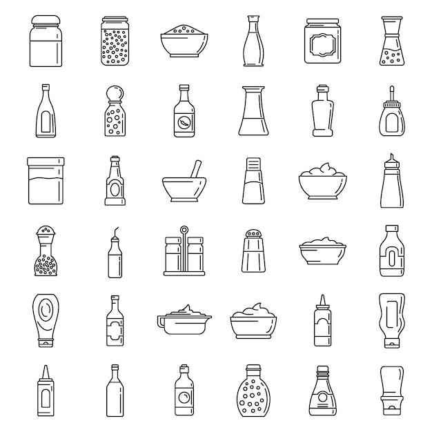 Kruiderij voedsel pictogrammen instellen Premium Vector