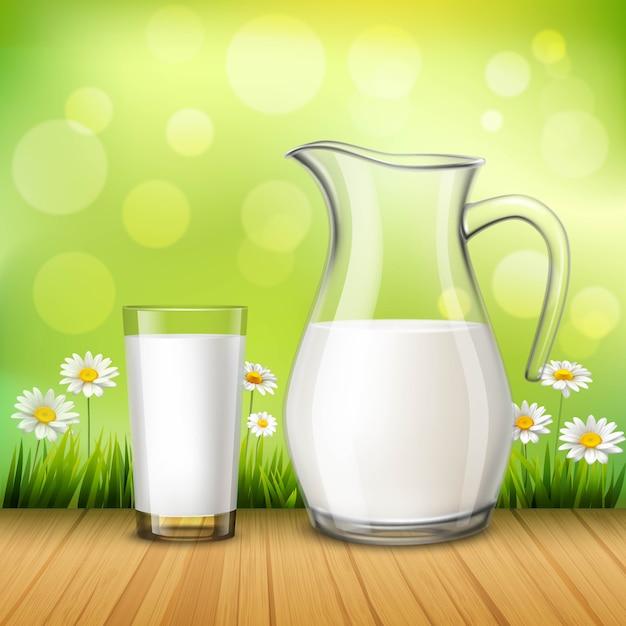 Kruik en glas melk Gratis Vector