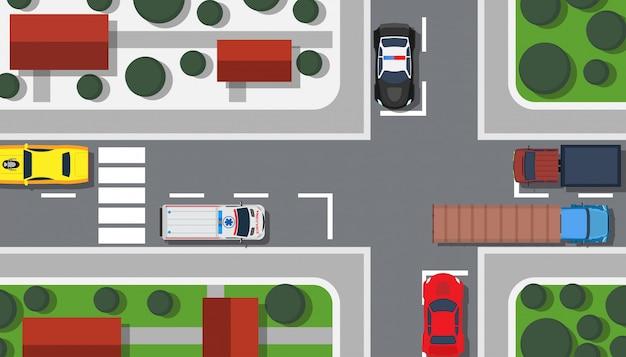 Kruispunt bovenaanzicht illustratie gebouw kaart. Premium Vector