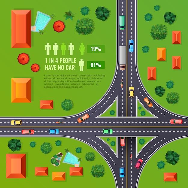 Kruispunt bovenaanzicht illustratie Gratis Vector