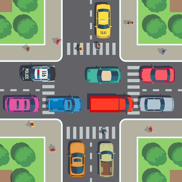 Kruispunt bovenaanzicht. wegkruising met zebrapad, auto's en mensen op stoep. vector illustratie Premium Vector