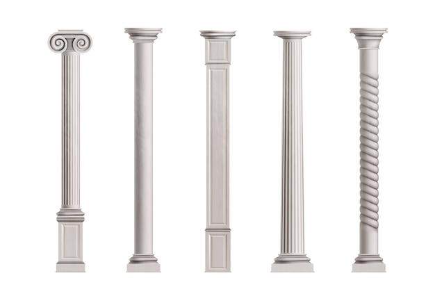 Kubieke en cilindrische kolommen van witte marmeren steen met glad en gestructureerd oppervlak Gratis Vector