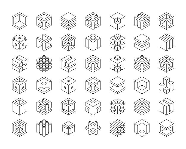 Kubussen pictogram instellen. kubus logo sjabloon Premium Vector