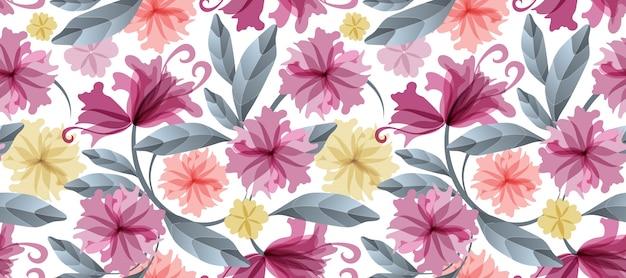 Kunst bloemen naadloos patroon. Premium Vector