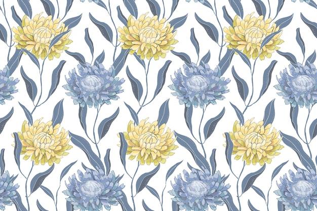 Kunst bloemen vector naadloos patroon met chrysanten. lichtblauwe en gele bloemen en bladeren Premium Vector