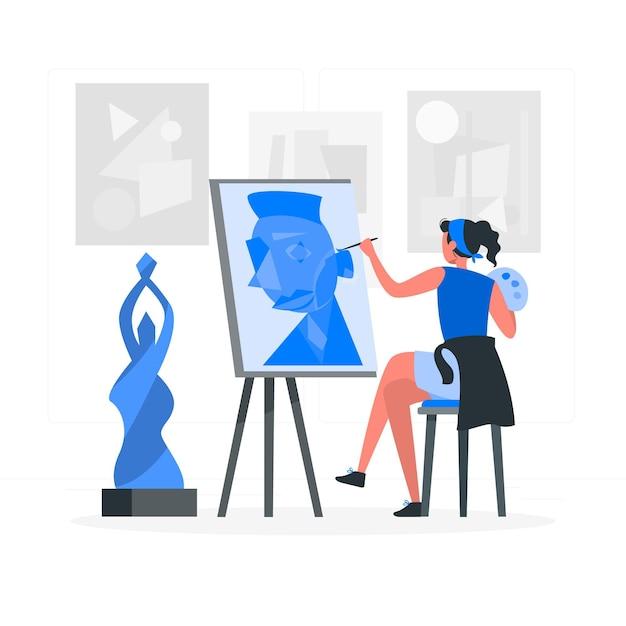 Kunst concept illustratie maken Gratis Vector