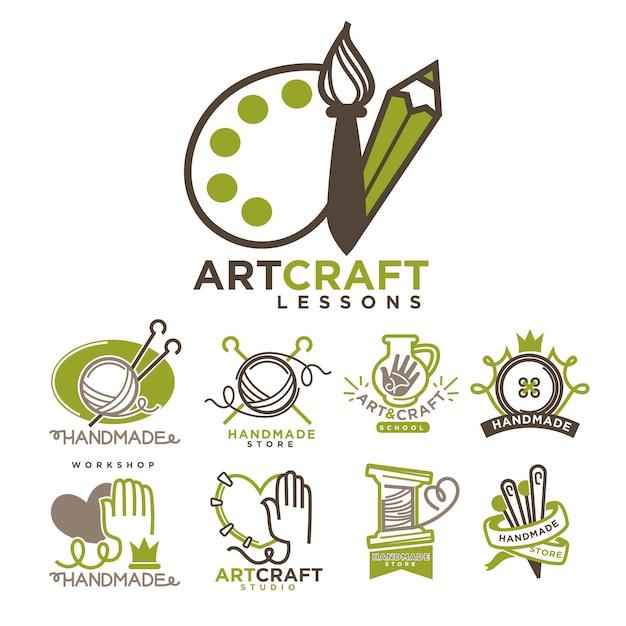 Kunst en handgemaakte ambachtelijke logo sjablonen flat set. Premium Vector