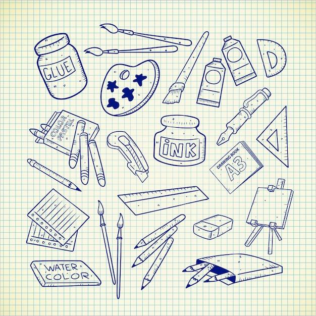 Kunst levert doodle Premium Vector