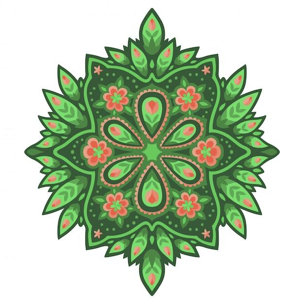 Kunst met roze bloemen op het groene patroon Premium Vector