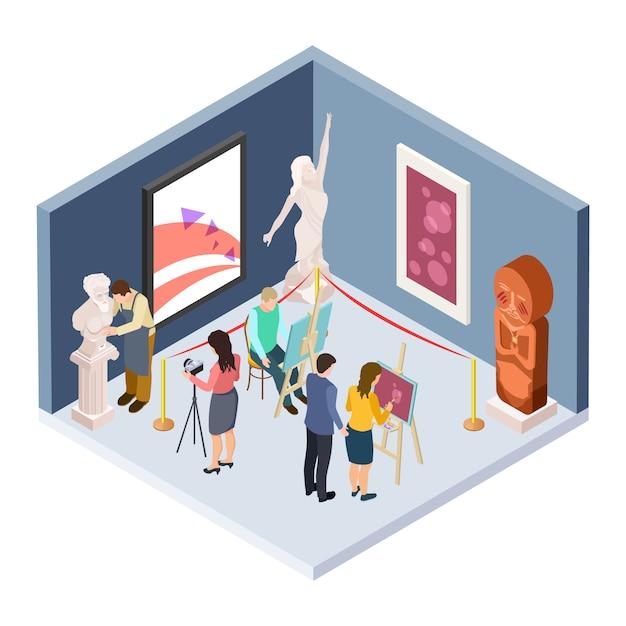 Kunstacademiestudenten. isometrische vectorkunstenaars, beeldhouwer, restaurateur, fotograaf in het museum Premium Vector