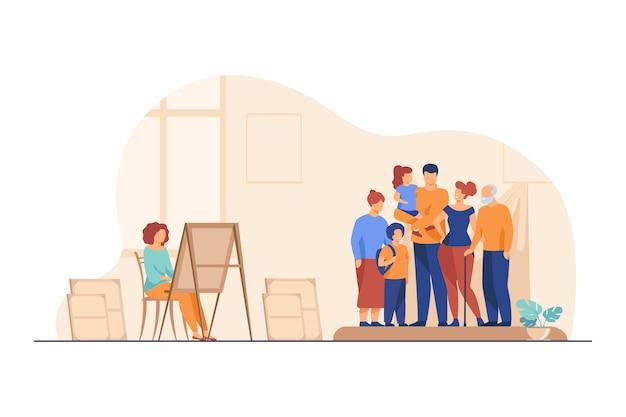 Kunstenaar schilderij familieportret. afbeelding, moeder, kinderen platte vector illustratie. kunstatelier of werkplaats Gratis Vector