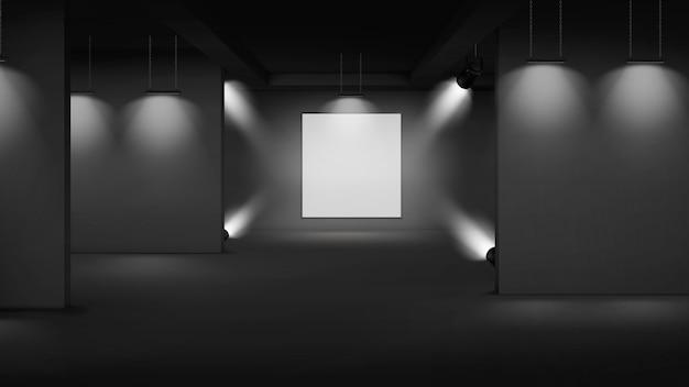 Kunstgalerie leeg interieur met afbeelding in het midden, verlicht met schijnwerpers Gratis Vector