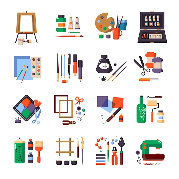 Kunsthulpmiddelen en materialenpictogram voor het schilderen Gratis Vector
