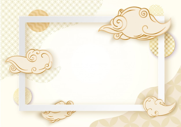 Kunstkader papier met japan Premium Vector