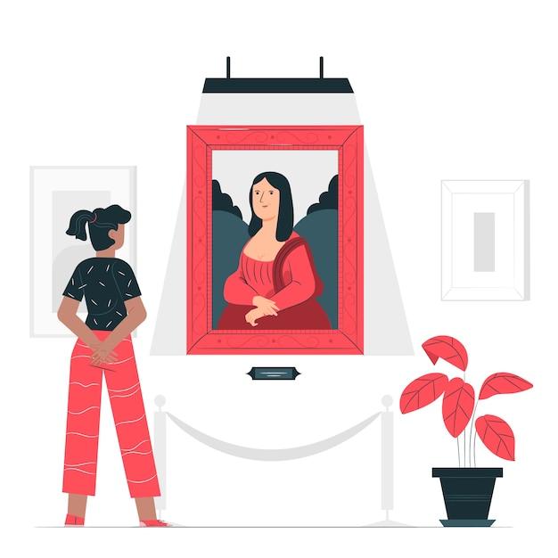 Kunstliefhebber concept illustratie Gratis Vector