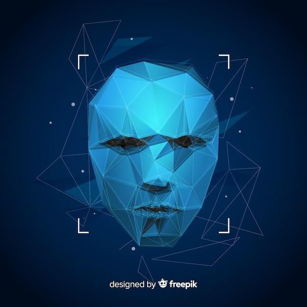 Kunstmatige gezichtsherkenning abstracte technologie Gratis Vector