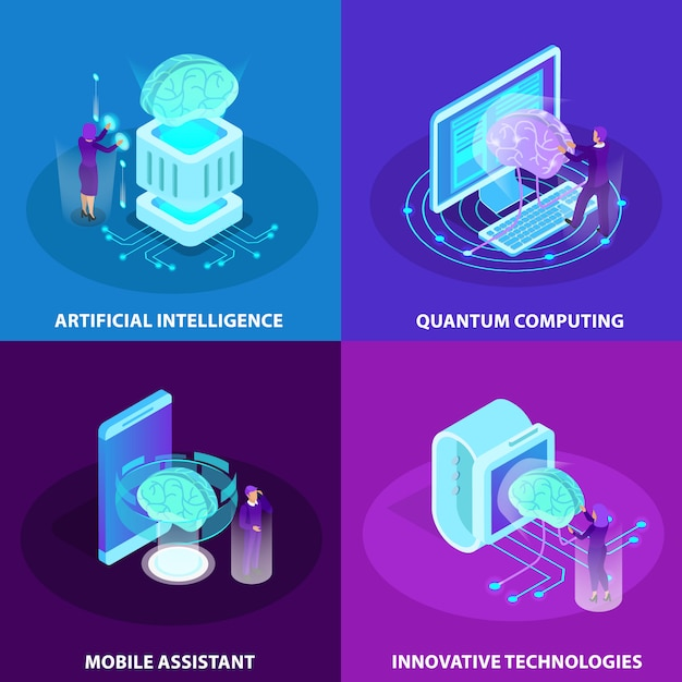 Kunstmatige intelligentie 2x2 ontwerpconcept set innovatieve technologieën quantum computing mobiele assistent isometrische gloed pictogrammen Gratis Vector