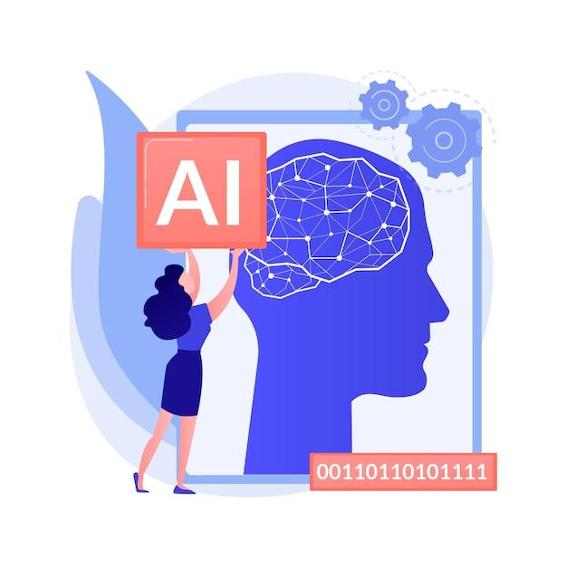 Kunstmatige intelligentie abstract concept illustratie Gratis Vector