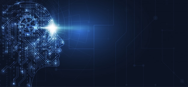 Kunstmatige intelligentie. abstract geometrisch menselijk hoofd Premium Vector