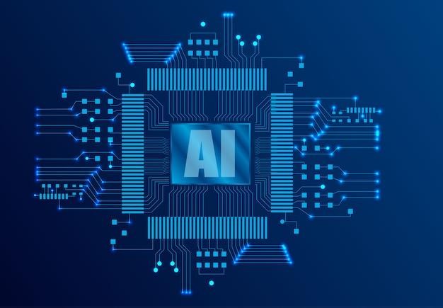Kunstmatige intelligentie (ai) bestemmingspagina. website sjabloon voor diep leren concept. Premium Vector