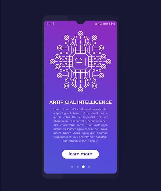 Kunstmatige intelligentie, ai in mobiele app, ui-ontwerp Premium Vector