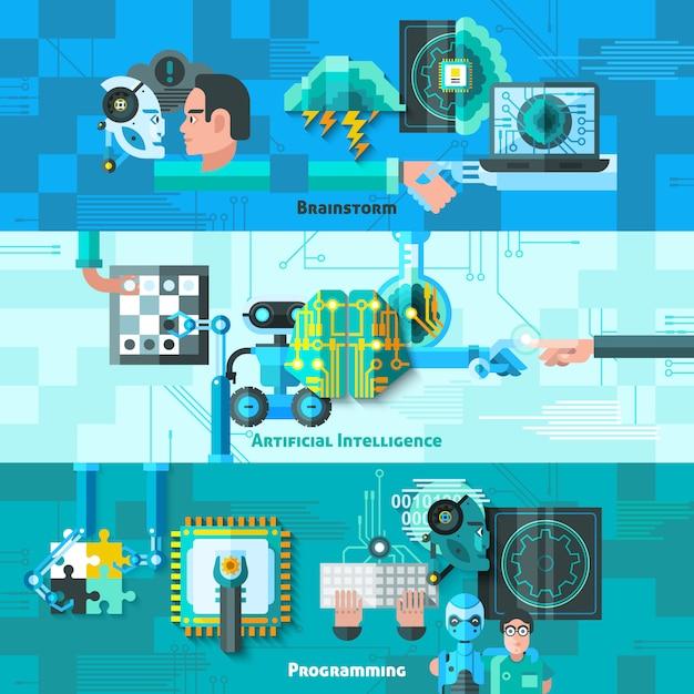 Kunstmatige intelligentie banners set Gratis Vector
