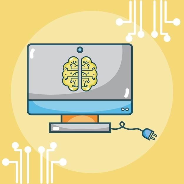 Kunstmatige intelligentie hersenen Premium Vector
