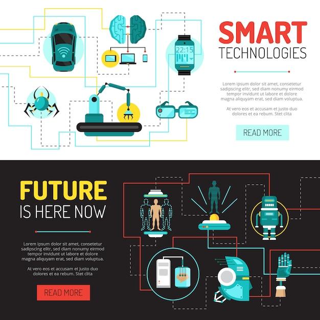 Kunstmatige intelligentie horizontale banners met vlakke afbeeldingen van technologische innovaties en robotica Gratis Vector