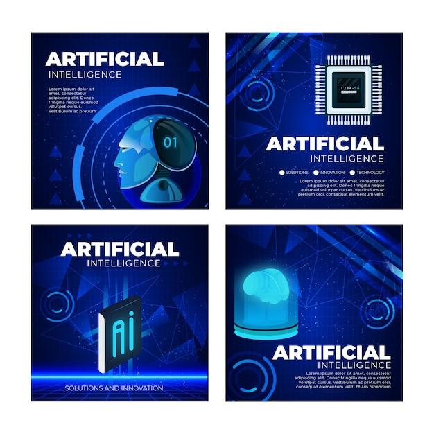 Kunstmatige intelligentie instagram posts-collectie Gratis Vector