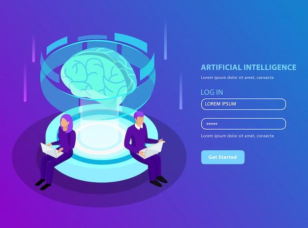 Kunstmatige intelligentie isometrisch in bestemmingspagina-indeling met gloeien van hersenindeling Gratis Vector