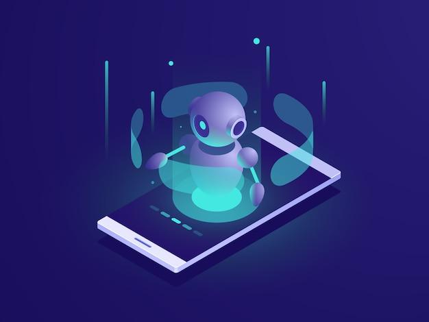 Kunstmatige intelligentie, isometrische ai robot op mobiele telefoonscherm, chatbot-app Gratis Vector