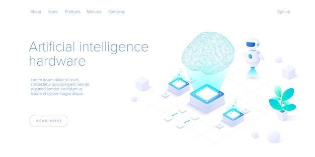 Kunstmatige intelligentie of neuraal netwerkconcept in isometrisch. Premium Vector