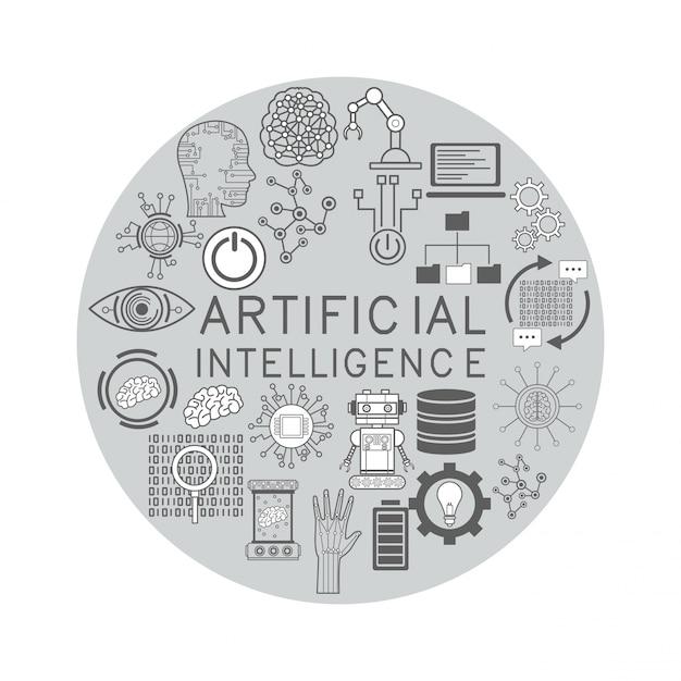 Kunstmatige intelligentie pictogrammen Premium Vector