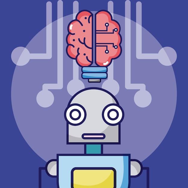 Kunstmatige intelligentie robot cartoon concept Premium Vector