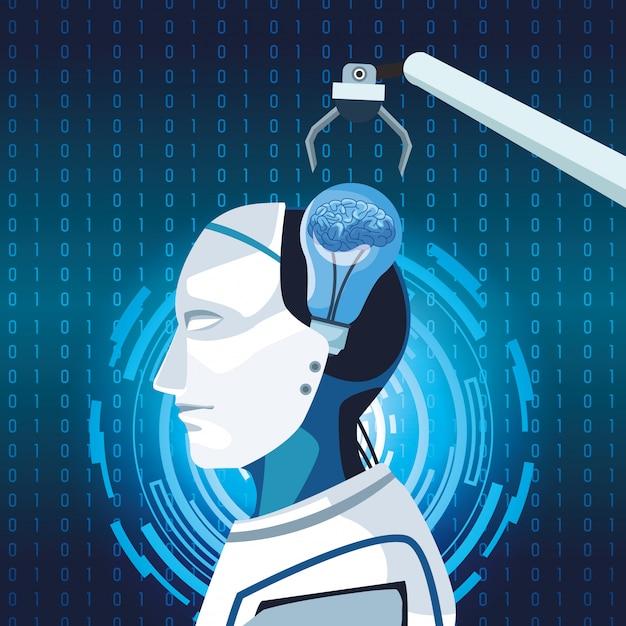 Kunstmatige intelligentie technologie robotarm cyborg menselijke hersenen ontwikkelingsmachine Premium Vector