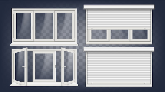 Kunststof pvc venster Premium Vector